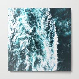 Sea Waves Dark Metal Print