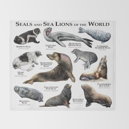 Seals and Seal Lions of the World Throw Blanket