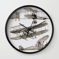 airplanes Wall Clocks featuring airplanes 3 by Кaterina Кalinich