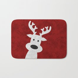 Christmas reindeer red marble Bath Mat