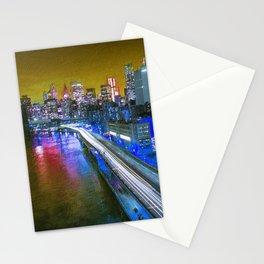 New York City Lights Gold Stationery Cards