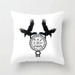 Norse Ravens - Vegvisir Throw Pillow