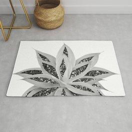 Gray Agave with Black Silver Glitter #1 #shiny #tropical #decor #art #society6 Rug