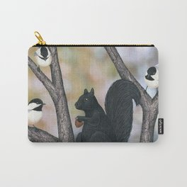 black capped chickadees and black squirrel Carry-All Pouch
