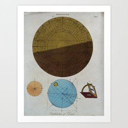 J Pass - Diagrams for Horology: the construction of dials (1809) Art Print