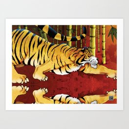 Tiger in a Bamboo Forest Art Print
