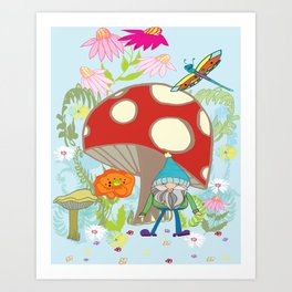 happy gnome and draggy Art Print