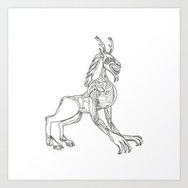 Wendigo Crouching Doodle Art Art Print