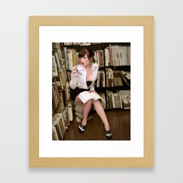 """""""I Like Books, Too"""" - The Playful Pinup - Sexy Librarian Pin-up Girl by Maxwell H. Johnson Framed Art Print"""