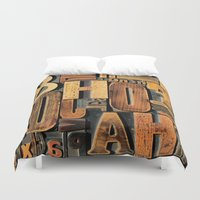 letters Duvet Covers featuring Letters by Bekare Creative