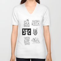 maps V-neck T-shirts featuring Thirty Five Dungeon Maps by Tony Dowler