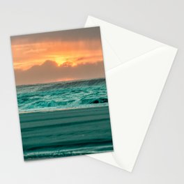 Turquoise Ocean Pink Sunset Stationery Cards