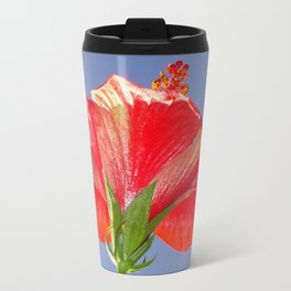 Side View of Scarlet Red Hibiscus In Bright Light Travel Mug
