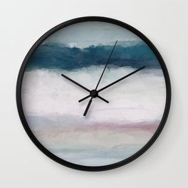 Dark Teal Blue, White, Pink, Light Blue Modern Wall Art, Ocean Waves Diptych Nursery Beach Decor Wall Clock