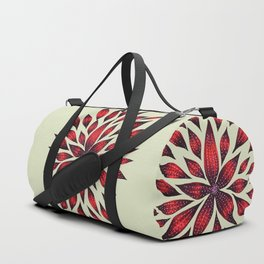 Abstract Red Flower Doodle Duffle Bag