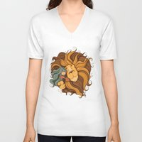 lion V-neck T-shirts featuring Lion by Tatiana Obukhovich