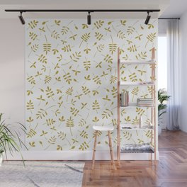 Gold Leaves Design on White Wall Mural