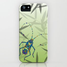 Insect Bamboo leaves Green Unique Pattern iPhone Case