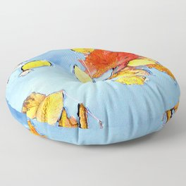 Autumn Leaves Floating in the Water Floor Pillow