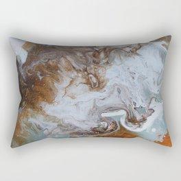 Sage and Umber Paint Pour Print Rectangular Pillow