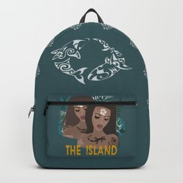 THE ISLAND . with text Backpack