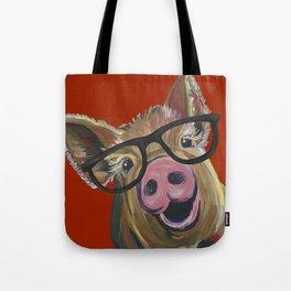 Pig With Glasses, Cute Pig, Farm Animal Tote Bag
