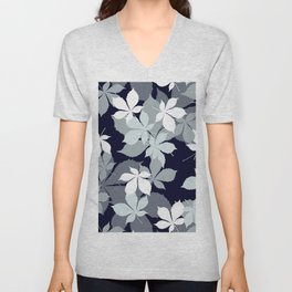 Contemporary Leaves Pattern In Chic Black, White, & Gray Unisex V-Neck