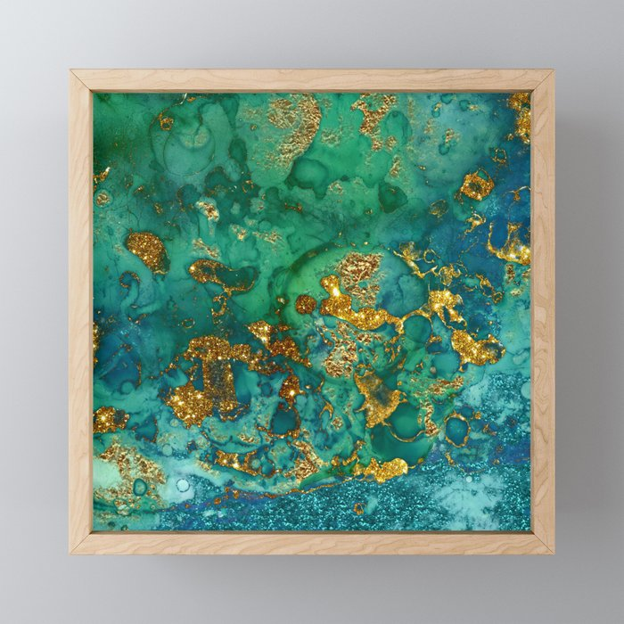 Malachite and Gold Glitter Stone Ink Abstract Gem Glamour Marble Framed Mini Art Print