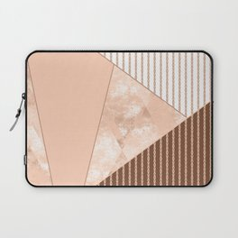Valencia 2. Abstract Beige, white, brown geometric pattern. Laptop Sleeve