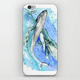 Humpback Whales, two whales ocean underwater scene beach iPhone Skin