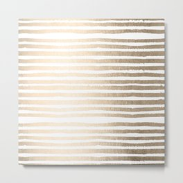 White Gold Sands Shibori Stripes Metal Print