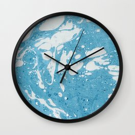 Blue Liquid Paint With Cream Splashes Abstract Design Wall Clock