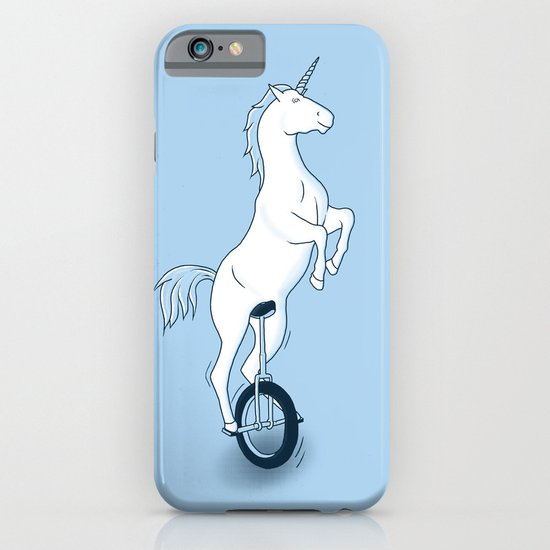 Unicorn on a unicycle - blue iPhone & iPod Case