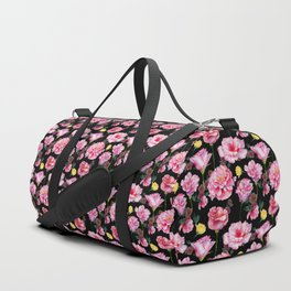 Modern pink green yellow watercolor roses pattern Duffle Bag