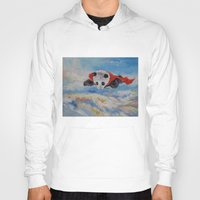 superhero Hoodies featuring Panda Superhero by Michael Creese
