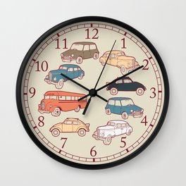 Retro cars. Wall Clock