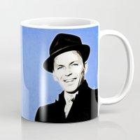 frank sinatra Mugs featuring Frank Sinatra - My Way - Pop Art by William Cuccio aka WCSmack