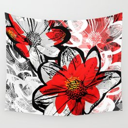 Red and Black Daisy Wall Tapestry