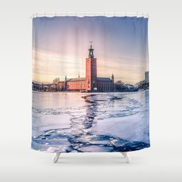 Stockholm City Hall in Winter Shower Curtain