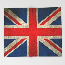 Old and Worn Distressed Vintage Union Jack Flag Throw Blanket