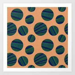 Blue Striped Ball Pattern On Peach Art Print
