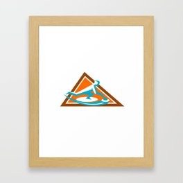 Curling Player Sliding Stone Triangle Icon Framed Art Print