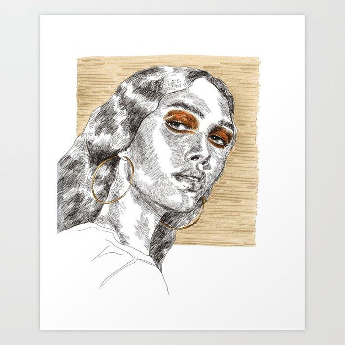 orange eyes Art Print