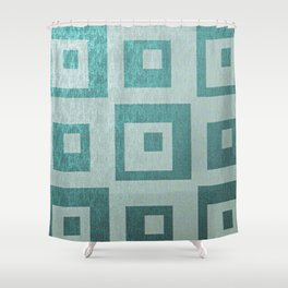 Retro,1950's pattern,geomtric,metallic,teal,tourquise,beautiful,glam,elegant,chic,vintage,pattern Shower Curtain