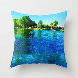 Bright River Flowing Throw Pillow