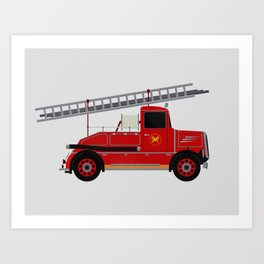 Vintage Fire Engine Art Print