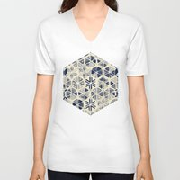 bedding V-neck T-shirts featuring Hand Painted Triangle & Honeycomb Ink Pattern - indigo & cream by micklyn