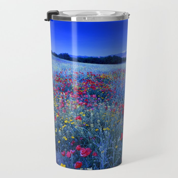 Spring poppies at blue hour Travel Mug