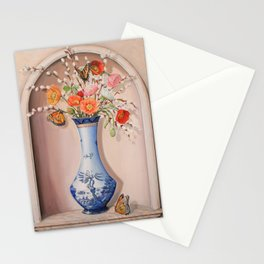 Blue Willow Niche with Flowers Stationery Cards