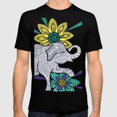 Zen Elephant X-LARGE Mens Fitted Tee Black